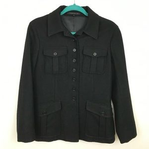 Theory Black Button Up Wool Jacket Light Utility M